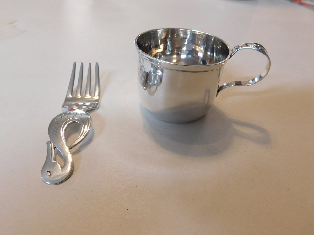 Sterling Baby Cup And Fork Restoration-2