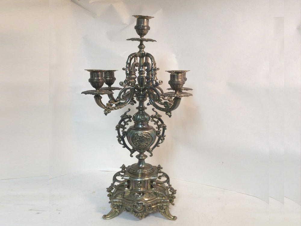 Brass Lacquered candelabra before